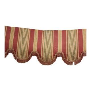 1940's French Vintage Silk Cotton Chateau Textile Pelmet Valance W/ Trim For Sale
