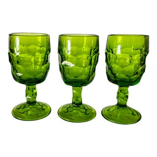 Vintage Mid-Century Honey Comb Pattern Green Small Wine Glasses Goblets S/3 For Sale