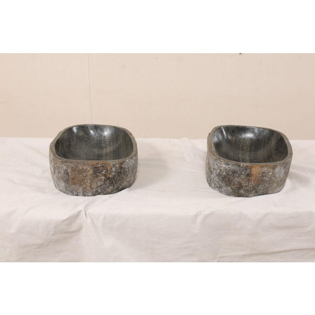 Rustic Natural Handcrafted River Rock Sinks-A Pair For Sale - Image 3 of 11