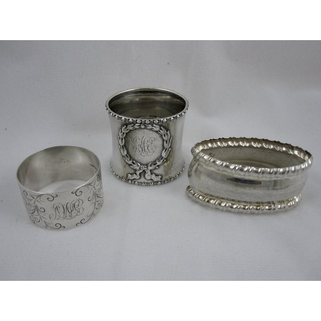 Antique Sterling Silver Napkin Rings - S/6 - Image 4 of 11