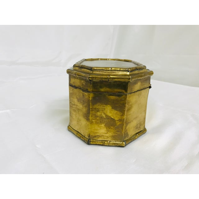 Vintage brass hinges lid box with faux bamboo details. Made in the 1960s.