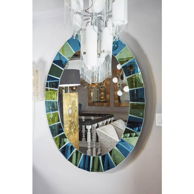 Venfield Custom Oval Mirror with Blue and Green Beveled Mirror Squares Surround For Sale - Image 4 of 7