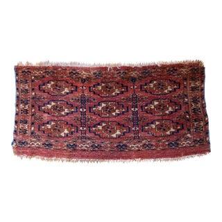 1860s Handmade Antique Turkmen Tekke Torba Rug 1' X 2' For Sale