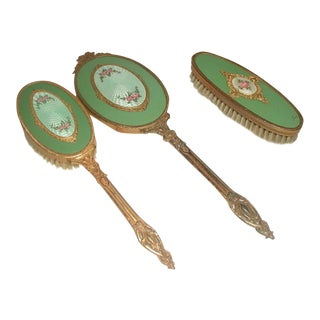 Antique Gold Plated Enameled Vanity Set - 3 Pieces