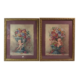 Decorative Framed Floral Still Life Prints - a Pair