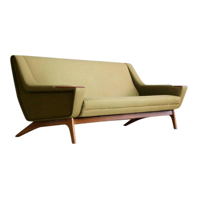 Danish Midcentury Sofa in Wool and Teak by Erhardsen and Erlandsen for Eran For Sale