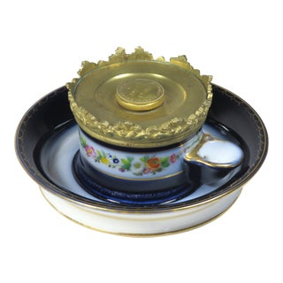 Antique Paris Porcelain & Gilt Bronze Inkwell Patent 1839 For Sale