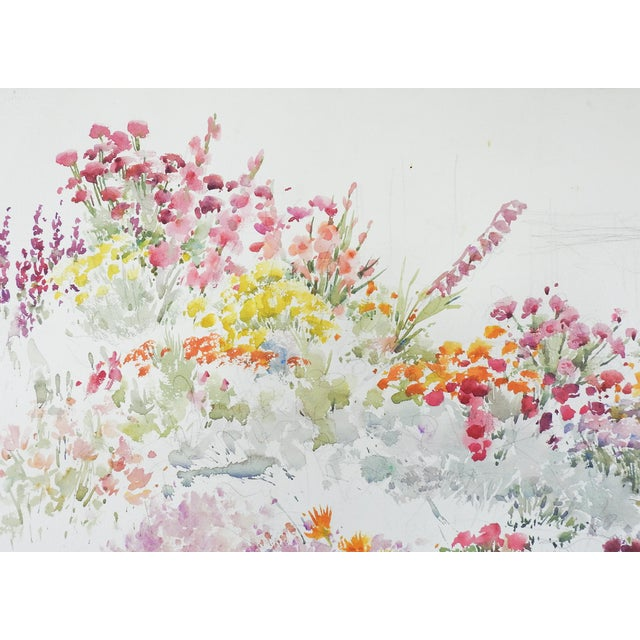 Shabby Chic Garden Flowers Watercolor Painting For Sale - Image 3 of 5