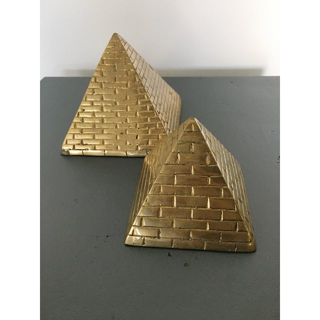 Brass Pyramid Bookends - a Pair For Sale - Image 4 of 5