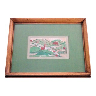 Antique Wooden Framed Village Scene Sketch For Sale