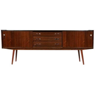 1960s Clausen & Søn Danish Rosewood Credenza with Bow Tie Handles