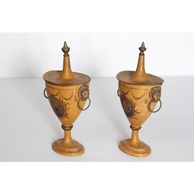 Traditional A Pair of English Regency Tole Painted Chestnut Urns For Sale - Image 3 of 13