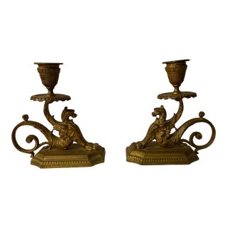 1960s Solid Brass Griffin/Dragon Candleholders For Sale