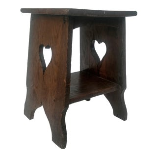 Arts & Crafts Mission Oak Side Table with Heart Cut Outs