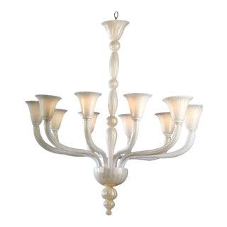 2 Italian Modern Neoclassical Hand-blown White & Gold Murano Glass Chandeliers