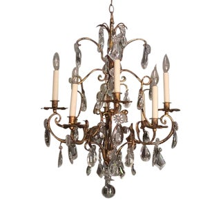 1960s Italian Iron and Crystal Gold Finish Chandelier