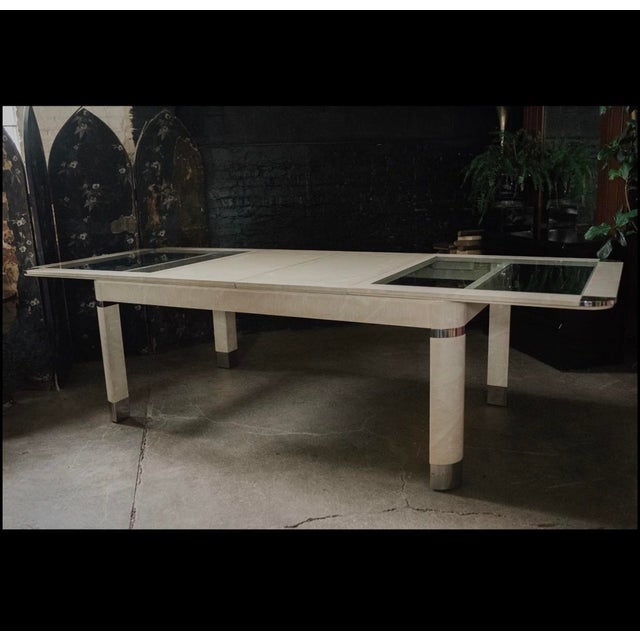 1980s Modernist Lacquered Ivory Parchment Skin, Chrome & Glass Extendable Dining Table For Sale - Image 12 of 13