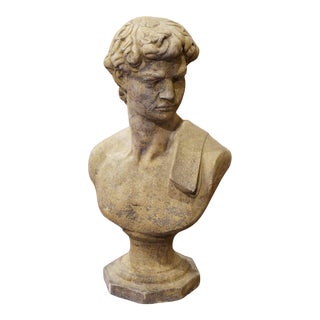 Midcentury French Outdoor Weathered Cast Stone Statuary Roman Bust For Sale