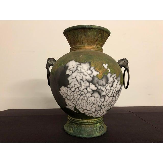Asian Tony Evans Raku Large Vase With Metal Horse Handles For Sale - Image 3 of 13