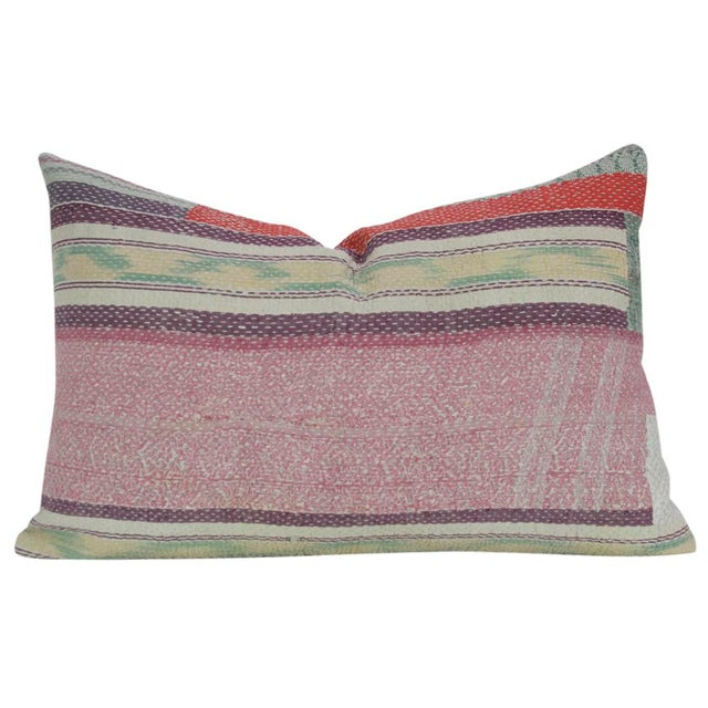 Bengal kantha pillow featuring a colorful design and running stitch. Hidden zipper closure and seamless linen back. Minor...