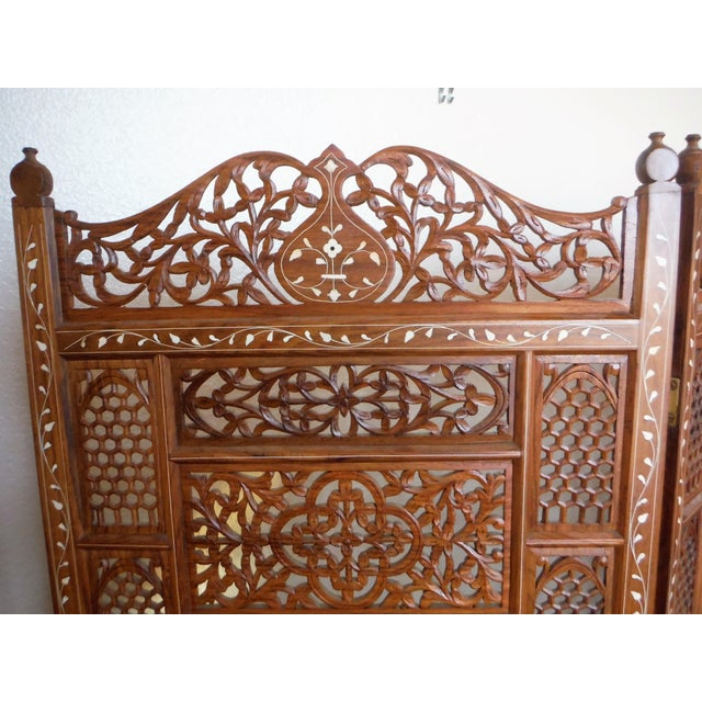 Carved & Inlayed Rosewood Screen For Sale - Image 9 of 11