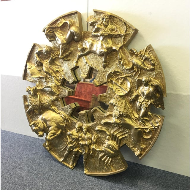Vintage 1970's Cast Fiberglass Zodiac Figural Mirror Finished in Metallic Gold. Created by Finesse Originals. Excellent...