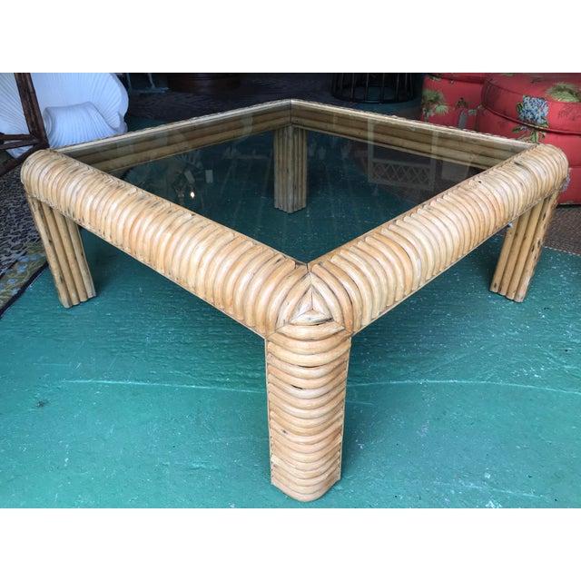Boho Chic Vitange Large Split Rattan Coffee Table For Sale - Image 3 of 11