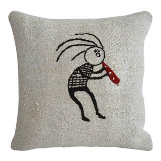 """Funny Illustration Style Handmade Rug Hemp Pillow Cover Throw Pillow - 16"""" X 16"""" For Sale"""