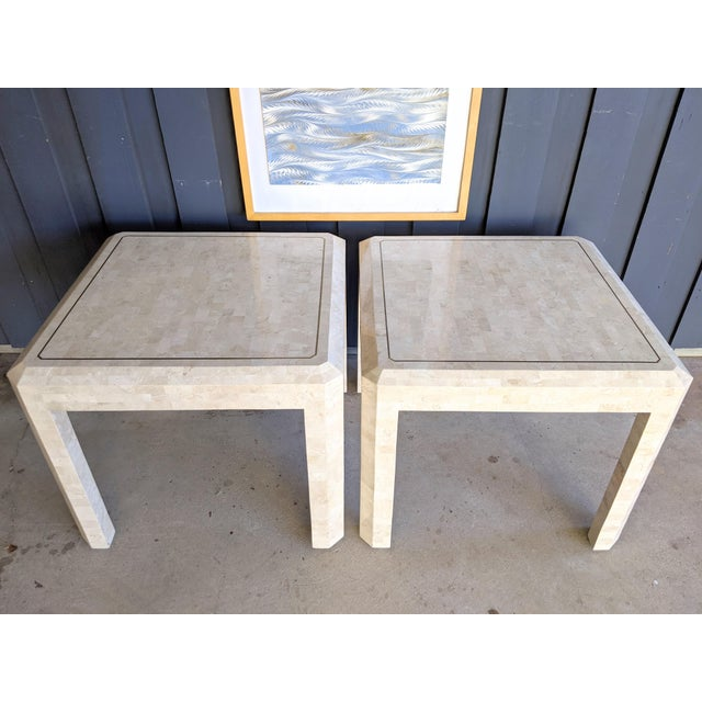 Contemporary Maitland Smith Tessellated Coral Side Tables - a Pair For Sale - Image 3 of 10