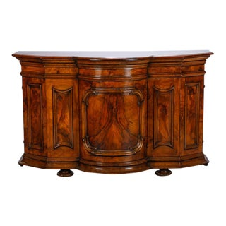 19th Century Burl Walnut Cabinet With Rounded Front and Original Keys