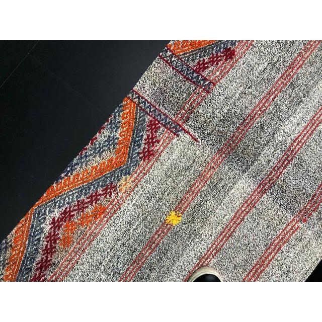 Antique Turkish Embroidered Organic Runner Kilim Rug - 2′ × 7′5″ For Sale - Image 9 of 11