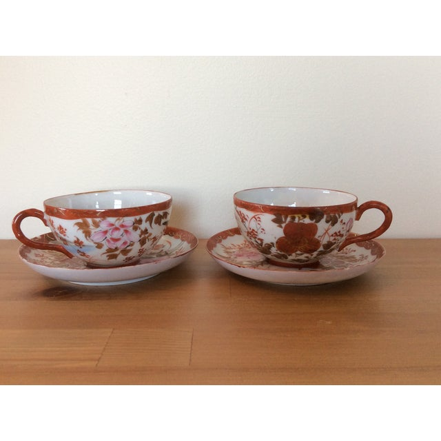 1920's Satsuma Eggshell Cups & Saucers - A Pair - Image 3 of 8