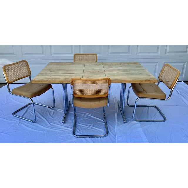 1980s Bauhaus Wicker and Chrome Dining Set - 5 Pieces For Sale - Image 13 of 13