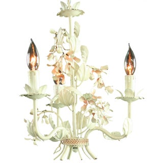 Vintage 3-Arm French Metal Floral Chandelier Preview