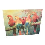 Image of Palm Beach Style Parrots Painting For Sale