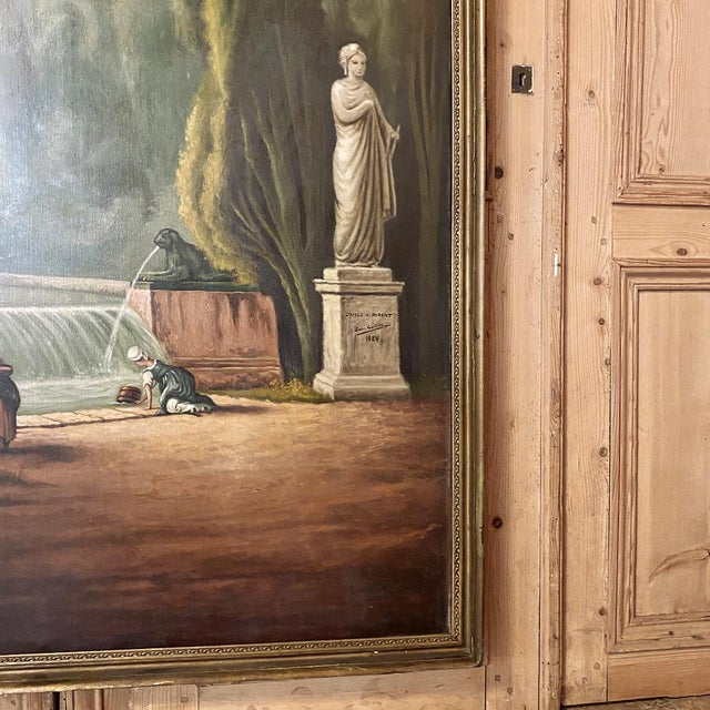 Grand Framed Oil Painting on Canvas by E. Carliez After H. Robert For Sale - Image 9 of 12
