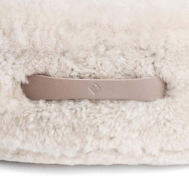 Drum Stacking Floor Cushion in Dune Shearling by Moses Nadel For Sale - Image 4 of 7