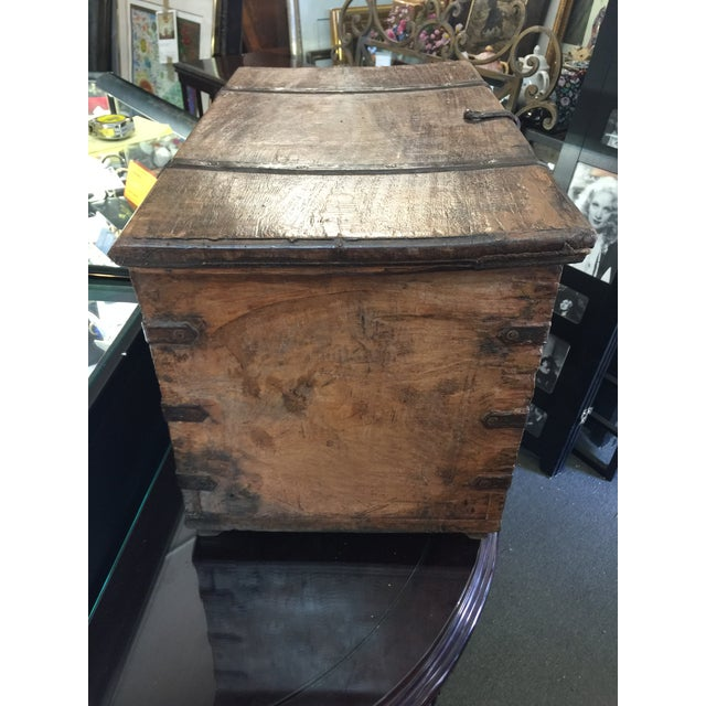 Rustic Antique Strong Box With Iron Straps For Sale - Image 3 of 8