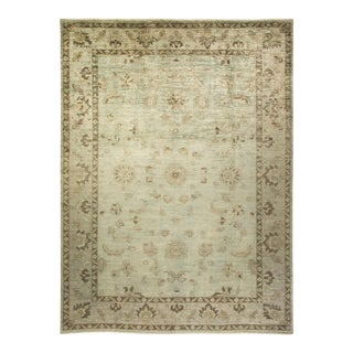 """Vibrance, One-Of-A-Kind Hand-Knotted Area Rug - Green, 10' 4"""" X 13' 10"""" For Sale"""