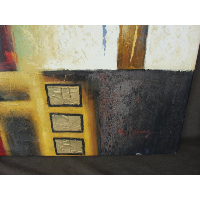 "B. Young ""Red Black Gold #2"" Abstract Expressionist Oil Painting For Sale - Image 4 of 9"