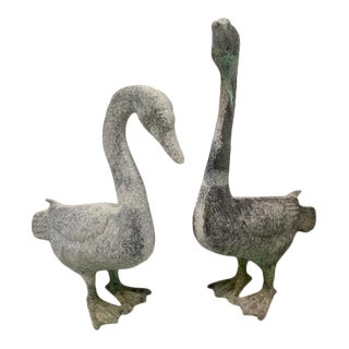Antique Lead Zinc Garden Geese Statues - a Pair For Sale