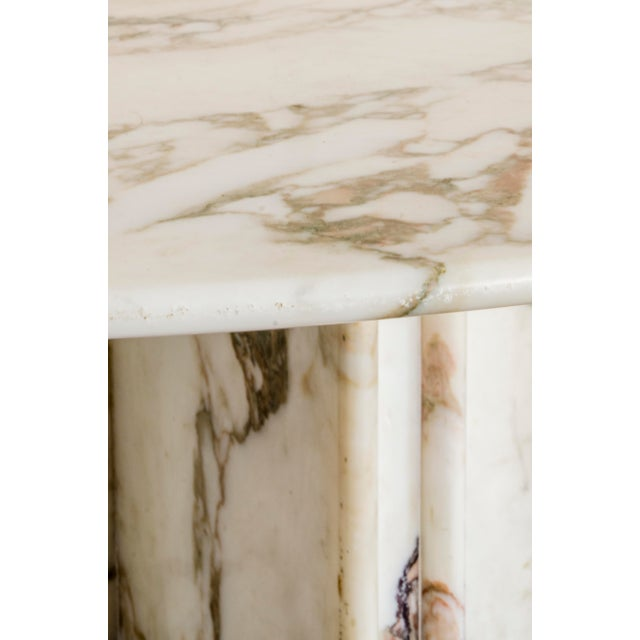 White Made to Order Italian Calacatta Marble Round Dining / Center Table For Sale - Image 8 of 10