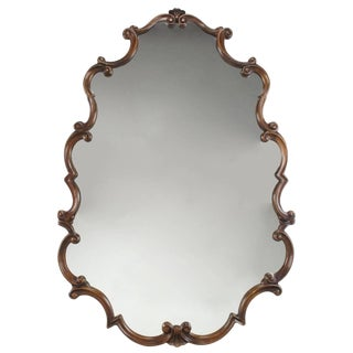 Large 1940s French Regency Style Wall Mirror With Scrolled Fruitwood Frame For Sale