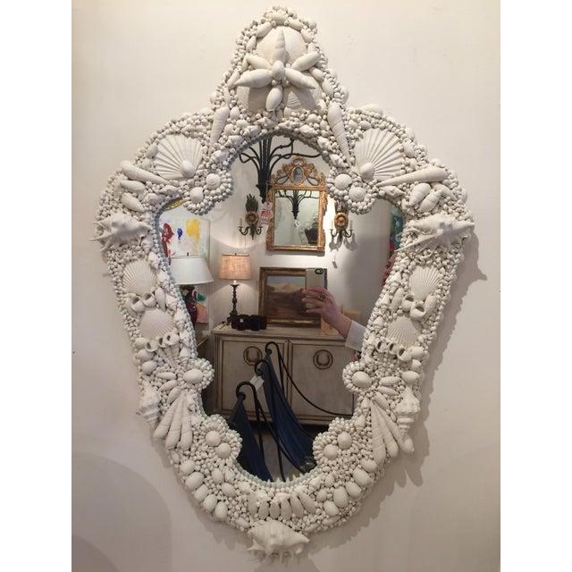 White Gesso Serpentine Shell Mirror - Image 2 of 6