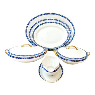 1930s Art Deco Japanese Porcelain Blue & White Serving Pieces - Set of 8 For Sale