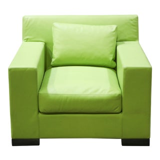 Ideo Modern Club Chair in Green Leather Upholstery For Sale