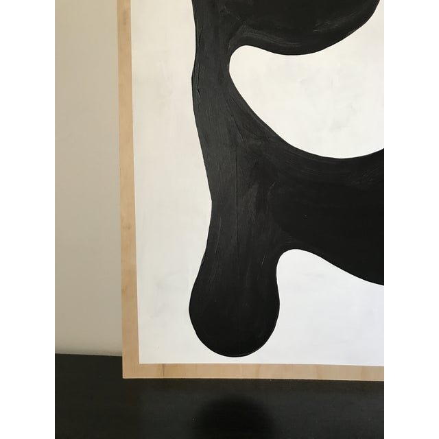 Wood Modern Formation Monochrome Oversized Abstract Painting By Hannah Polskin For Sale - Image 7 of 11