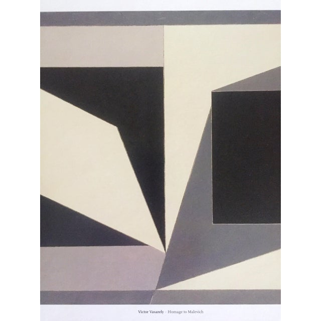 """2000 - 2009 Vintage Victor Vasarely Op Art Modernist Geometric Lithograph Print """" Homage to Malevich """" 1953 For Sale - Image 5 of 12"""