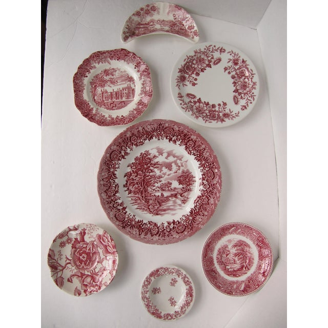 1950s Red Transferware Plates-7 Pieces For Sale - Image 5 of 5