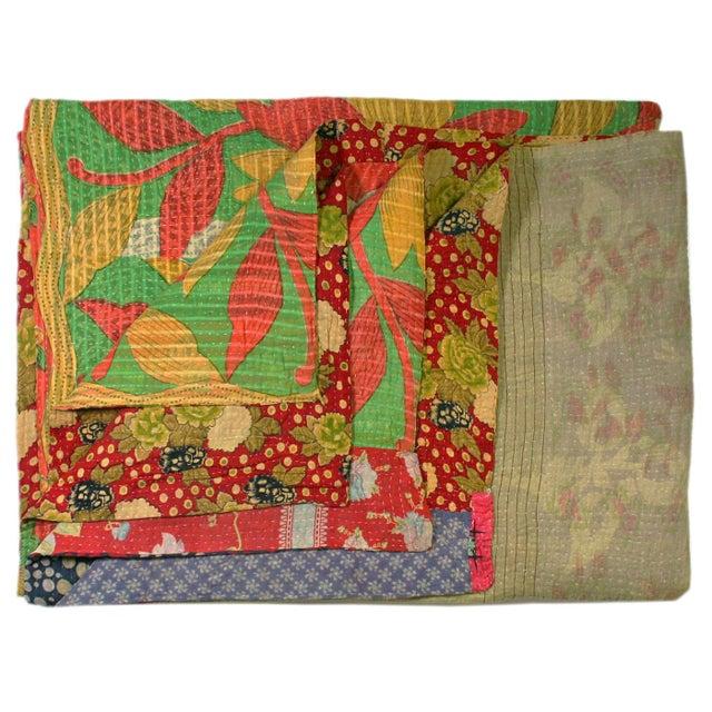 Orange and Lime Green Vintage Kantha Quilt - Image 1 of 2